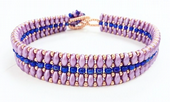 Flat SuperDuo Bracelet Beadwork Kit - Lilac/Blue/Gold
